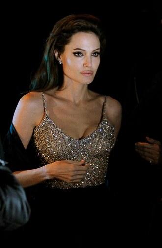 blouse angelina jolie jewels fashion beautiful trendy classy top sparkle diamonds champagne