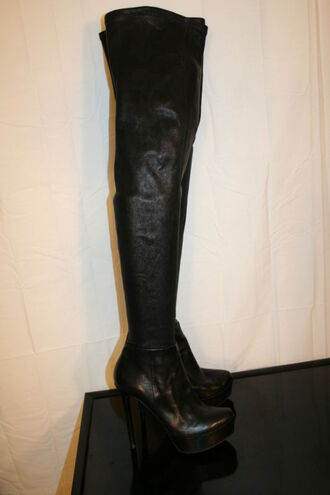 shoes vera wang black leather boots overknee