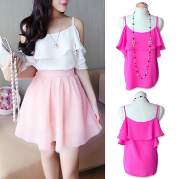 FanShou Free Shipping New 2014 Spring Summer Off Shoulder Spaghetti Strap Sexy Tops Casual Shirts Chiffon Women Blouses 6272-in Blouses & Shirts from Apparel & Accessories on Aliexpress.com