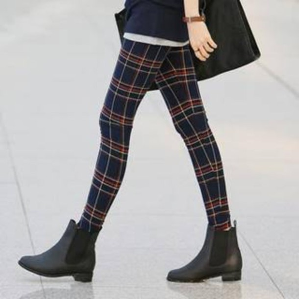 leggings plaid plaid leggings black black ankle boots