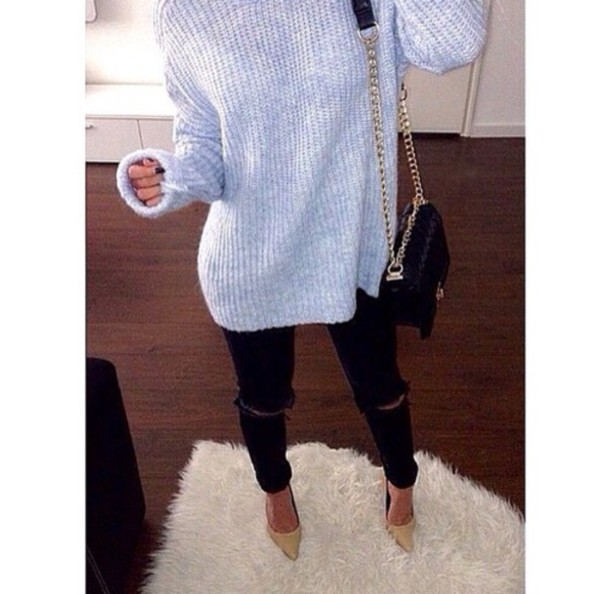 sweater grey sweater ripped jeans black jeans black high waisted pants style fashion heel high waisted jeans oversized sweater cute high heels grey jeans black ripped blouse