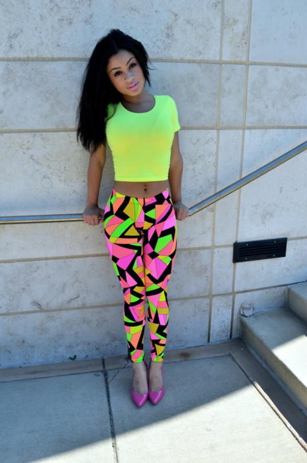 pants tights retro colorful pattern pattern neon neon pattern shirt shoes leggings