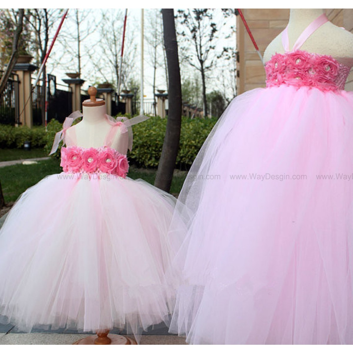 Flower girl dress pink tutu dress baby dress toddler for Flower girls wedding dress