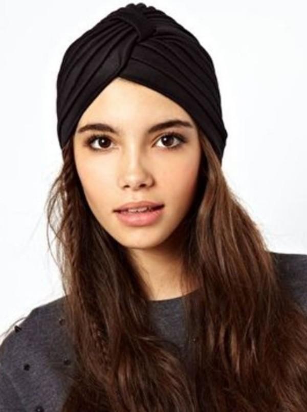 hat black turban fashion