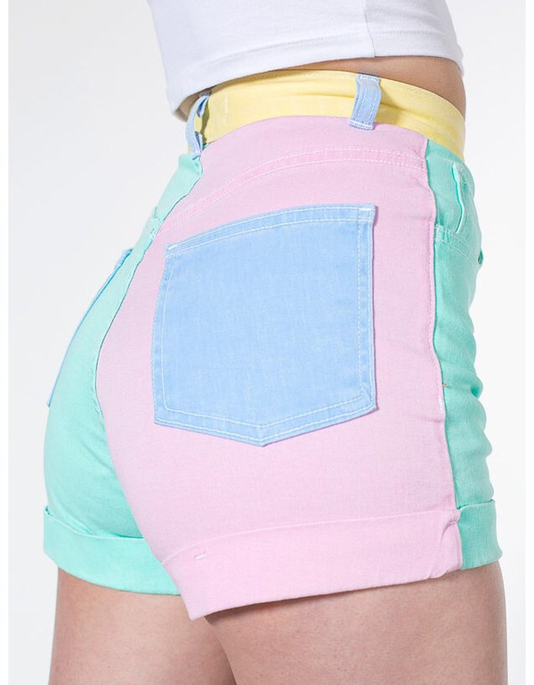 shorts colorblock blue denim high waisted shorts