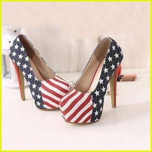 New Women American Flag Sexy Stiletto Platform High Heel Pump Shoes Lady Shoes | eBay