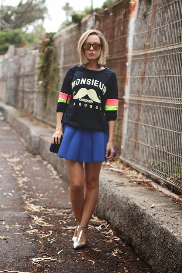 my showroom sweater skirt shoes bag sunglasses