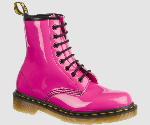 Dr Martens 1460 WOMENS HOT PINK PATENT LAMPER - Doc Martens Boots and Shoes