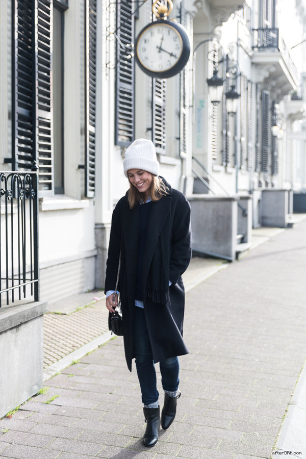 after drk coat sweater shirt jeans shoes scarf hat