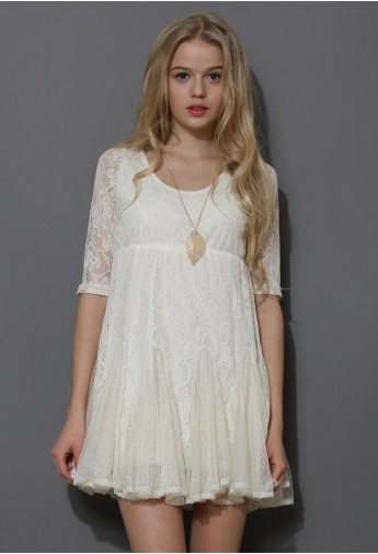 Dolly Full Lace Dress with Pieced Flare Hem - Retro, Indie and Unique Fashion
