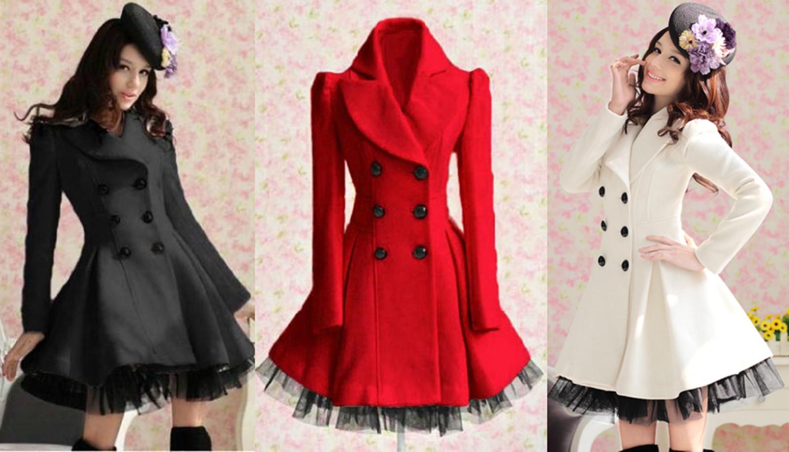 Brand-new Fashion Women Slim Wool Blend Trench Warm Coat Dress Jacket Double  CM55