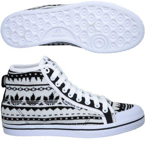 Adidas Shoe Honey Mid Ef W Women High Sneaker White Black 93252 at Hoodboyz
