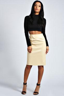 Georgia Patent High Shine Midi Skirt at boohoo.com