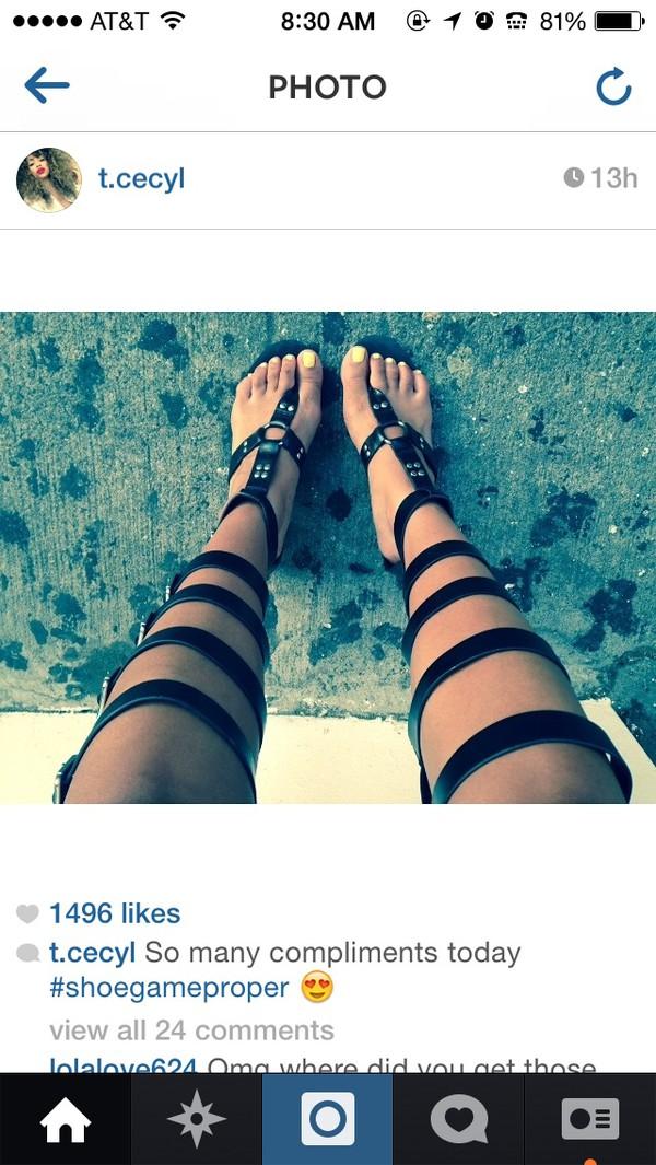 shoes black keyhole sandal gladiators