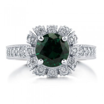 Royal Crown Style Emerald CZ 925 Silver Solitaire Ring 2.04 Ct #r784-em