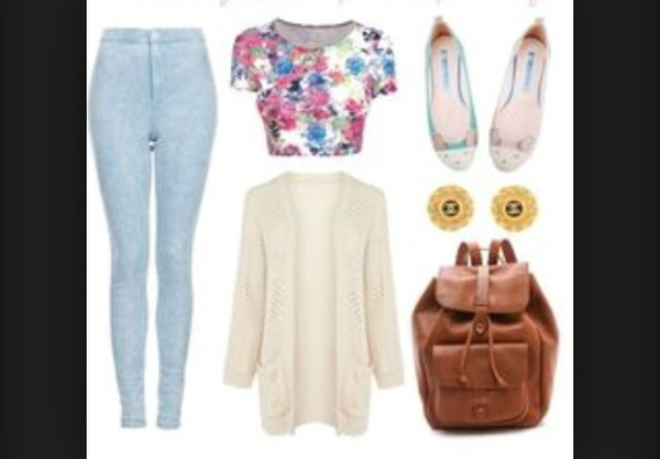 cardigan jeans blouse bag