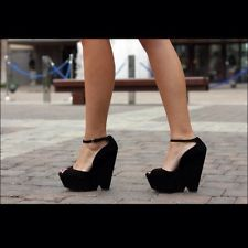 ZARA BLACK WEDGE PEEP TOE SHOES/SANDALS WITH ANKLE STRAP SIZE UK4/EUR37/US6.5 | eBay