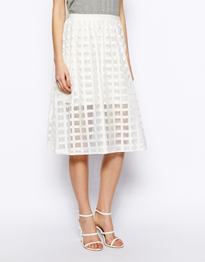 ASOS | ASOS Midi Skirt In Sheer Check at ASOS