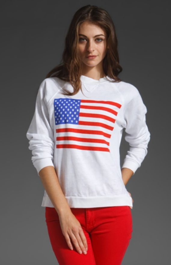 New WILDFOX Couture White American Flag Girl Goonies Jumper Sweater Top | eBay