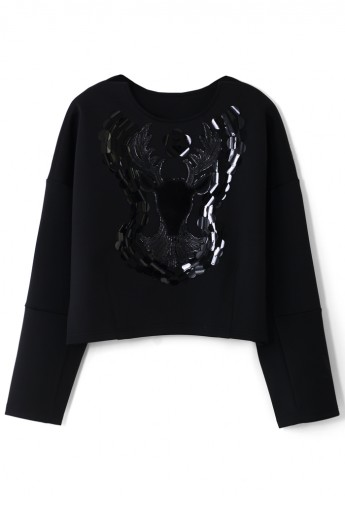 Deer Pattern Sweat Top in Black - Retro, Indie and Unique Fashion