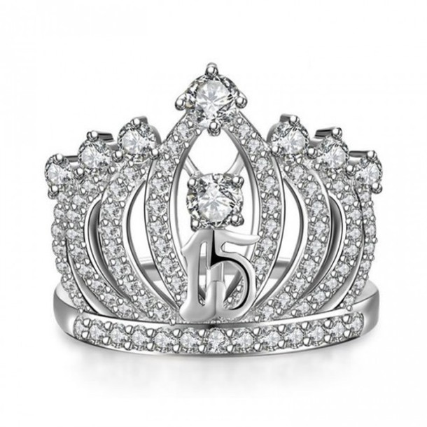 Wonderful jewels, evolees, evolees.com, sweet 15 crown ring 925 sterling  KW84