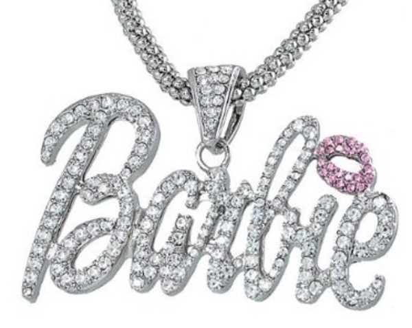 jewels barbie necklace blingy cute bold silver pink chinky chunky chunky necklace