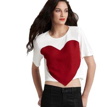 Amazon.com: Zeagoo Women's Stitching Large Red Heart Crew Neck Short Sleeve Crop T-shirt: Clothing