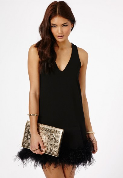 Claral Prom Dress With Feathered Hem Detail - Prom Dresses - Dresses - Missguided