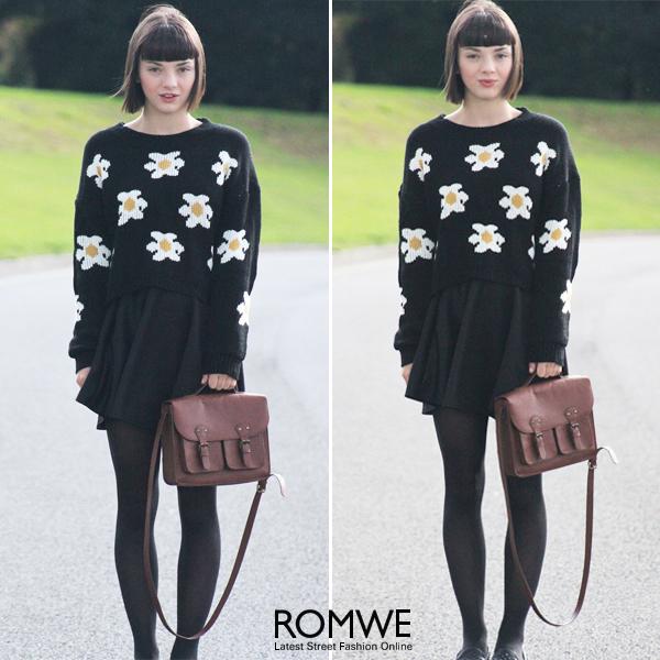 ROMWE | Daisy Knitted Black Jumper, The Latest Street Fashion