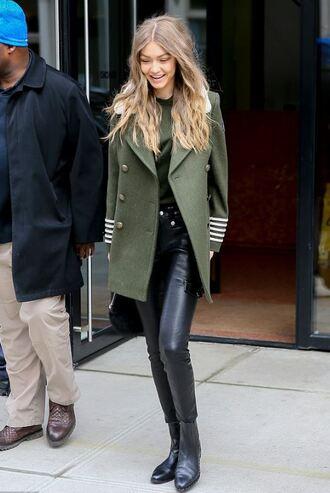 coat gigi hadid model off-duty streetstyle military style