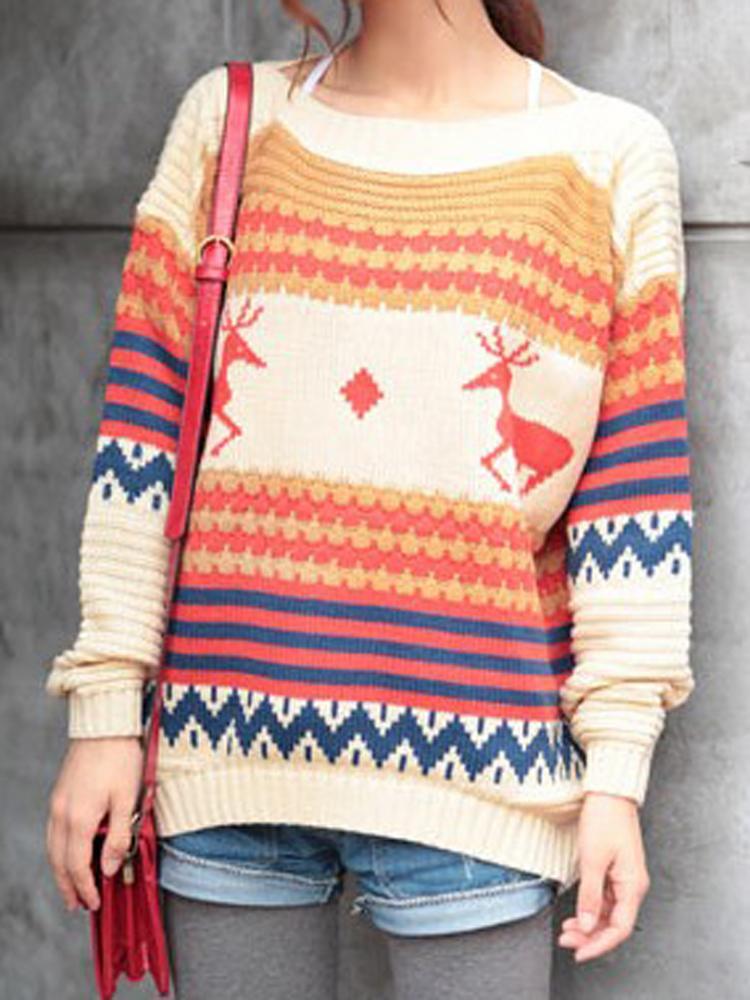 Reindeer Printed Knit Jumper In Beige | Choies
