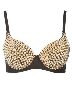 Parisian Gold Spike Studded Bra