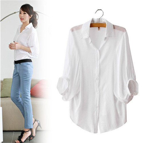 New White Sexy Women's Batwing Sleeve Shirt Loose Tops Button Down Collar Blouse on Wanelo