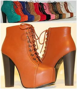 Brand New Women's Fashion High Heel Lace Up Platform Ankle Booties Shoes | eBay