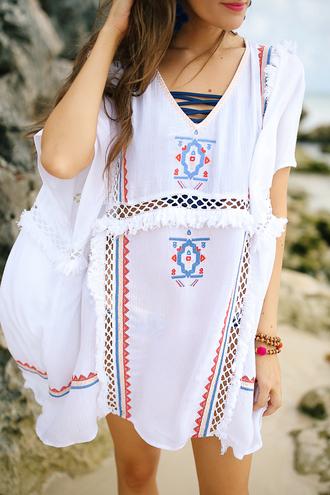 dress tumblr kaftan white dress embroidered