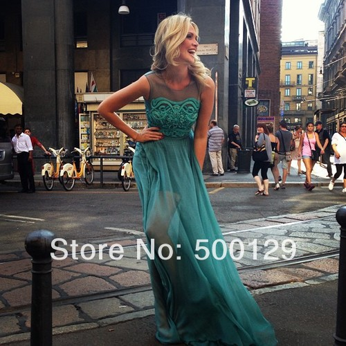 Aliexpress.com : Buy Graceful New Special Occasion Dresses Formal Long A Line Applique Chiffon Sheer Crew Neck Prom Dresses 2014 Custom Made from Reliable dress base suppliers on C&J Wedding Dress Co.,Ltd