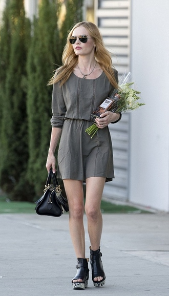 dress green dress kate bosworth sandals bag sunglasses