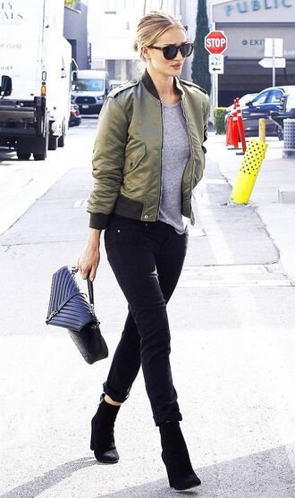jacket black sunglasses satin bomber bomber jacket skinny jeans black jeans grey t-shirt suede boots yves saint laurent shoulder bag rosie huntington-whiteley