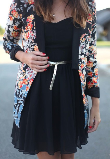 cardigan black dress dress floral cardigan