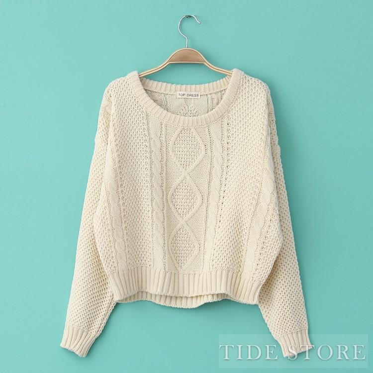 Nice Korean Style Loose Weave Knit Pure Color Bat Short Sweater : tidestore.com