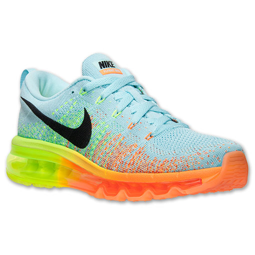 Women's Nike Flyknit Air Max Running Shoes | FinishLine.com | Glacier Ice/Black/Atomic Orange/Volt