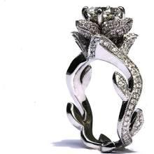 BLOOMING Work Of Art - Milgrain Flower Rose Lotus Diamond Engagement Ring - 1.75 carat - 4K white gold - brides - fL07 - Patented design