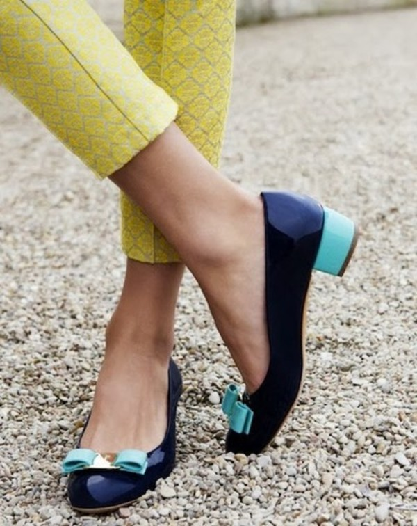 shoes flats navy baby blue bows gold short heels preppy