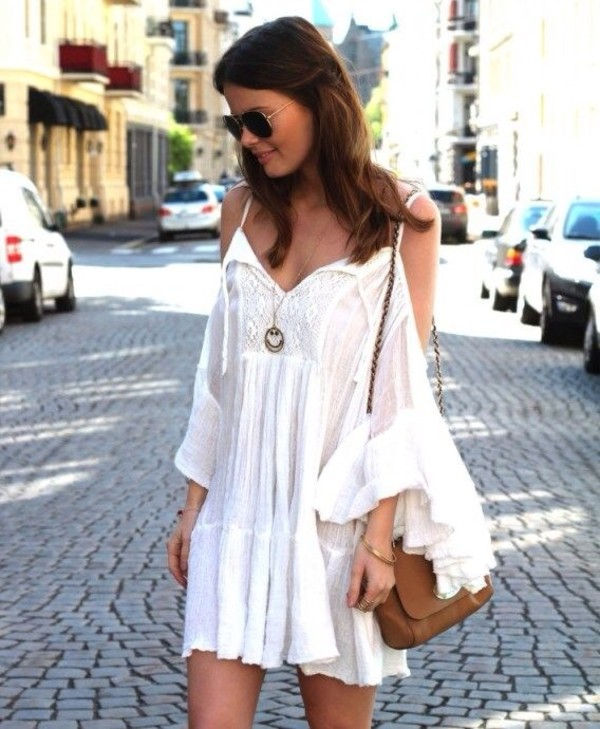 dress nail accessories bell sleeve dress white dress boho boho chic bohemian dress hippie hippie flowy dress bell sleeves