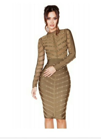 dress studded dress khaki khaki dress olive dress bandage dress sexy see through over the knee tight dresses mesh dres gold gold stud