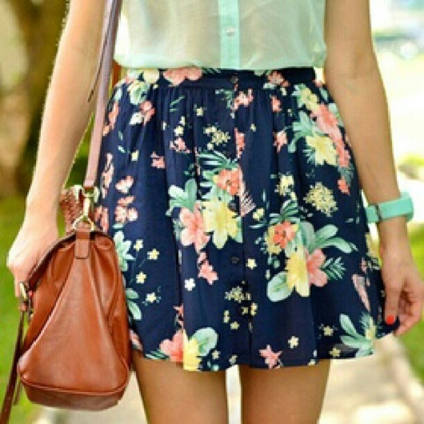 skirt floral blue coral flirty spring teal flowers perfect watch bag button down blouse