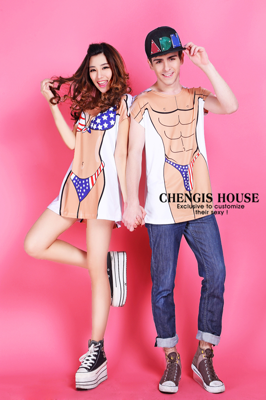 $17.00 Shang Cheng Spring 2014 European and American muscle bikini couple Funny T-shirt class service essential holiday gift ideas