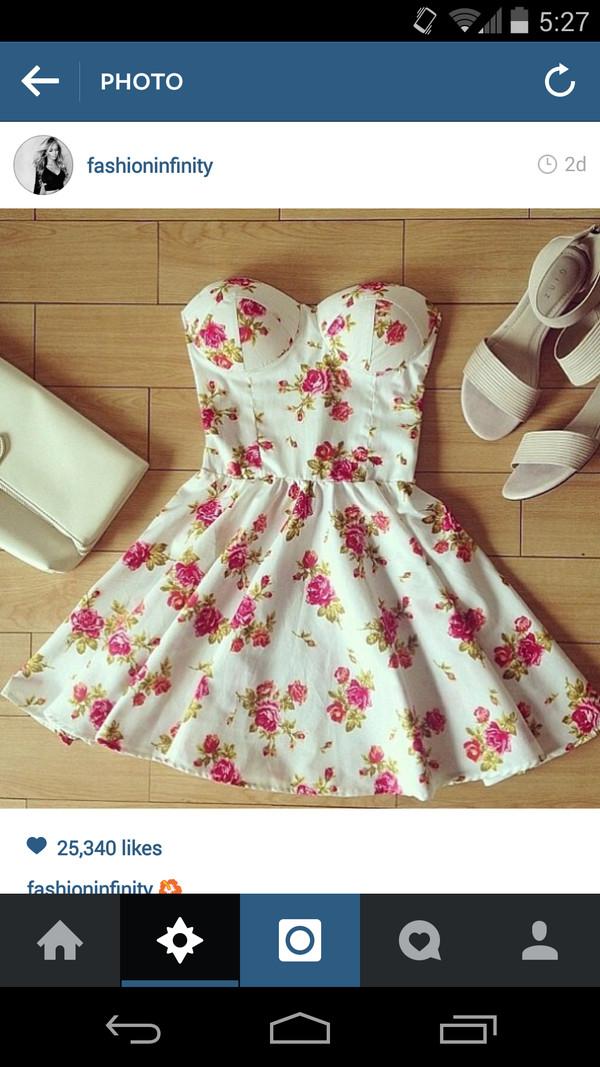 dress floral dress floral strapless dress