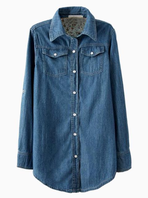 Longline Oversize Denim Shirt   Choies