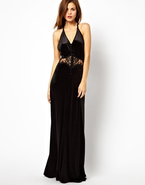 Jarlo | Jarlo Button Through Velvet Maxi Dress with Lace Insert at ASOS